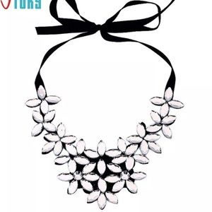 Jewelry - Silver Crystal Flower Black Ribbon